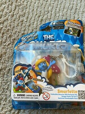 Swappz The Smurfs Papa Smurf Collectible Toy Backpack Clip Key Chain Fun Gift
