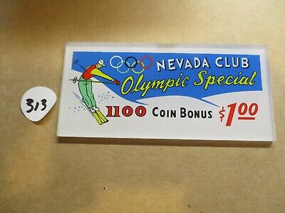 NEVADA CLUB OLYMPIC SPECIAL $1.00  Slot Machine Sign Replacement Part