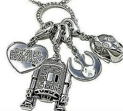 STAR WARS Necklace with Star Wars R2D2, C-3PO Charms 30 inch necklace