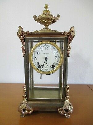 Beautiful Old Antique Seth Thomas Clock With Brass And Beveled Glass 16'' Tall.