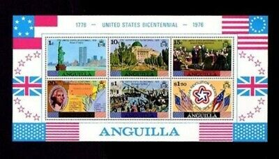 Anguilla - 1975 - Us Bicentennial - Washington - Flags - Mint - Mnh S/Sheet!