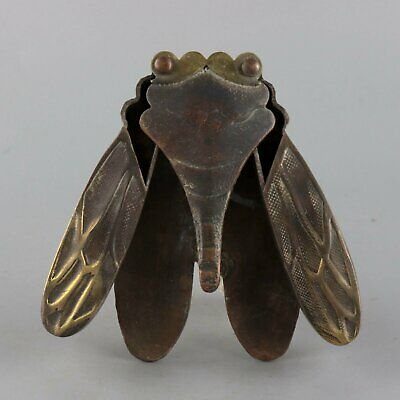 Collectable China Old Bronze Hand Carve Cicadas Unique Delicate Ink Box Statue