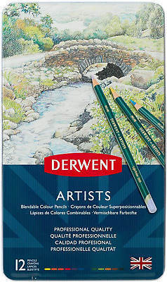 Derwent Artists Colouring Pencils, Set of 12, Professional Quality, 32092,
