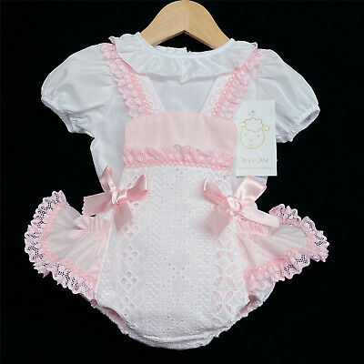 Baby Girl Spanish White Pink Frilly Jam Pants with Frilly Collar Top Romany