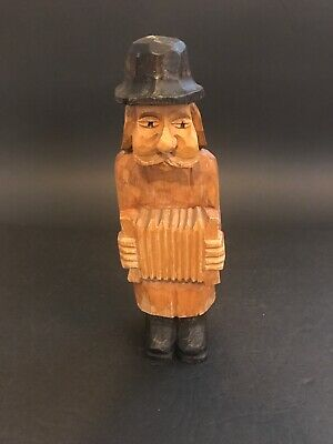 VINTAGE Hand Carved Wood Man Traveler Statue Figure With Accordion