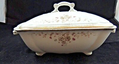 Adamantine China Wheeling Pottery Co  Floral Pattern Covered Serving Dish Footed