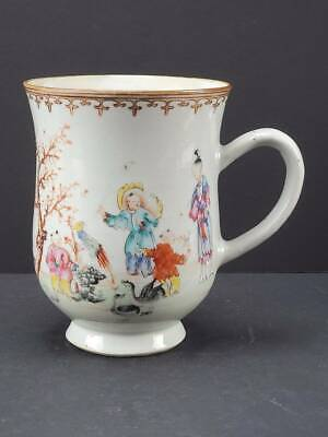 Antique 18Th Century Chinese Export Famille Rose Enameled Tankard Mug, 6""