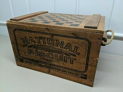 National Biscuit Company 200th Anniversary WOOD CRATE BOX w/ Checker Board Lid