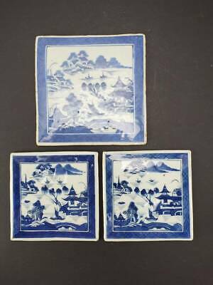 Lot Of 3 Antique Chinese Export Canton Blue & White Porcelain Tiles