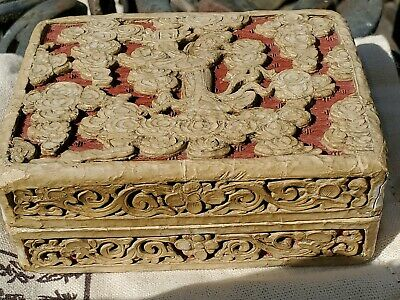 Rare Antique Chinese Carved 2 colors Red and White through Cinnabar Lacquer Box