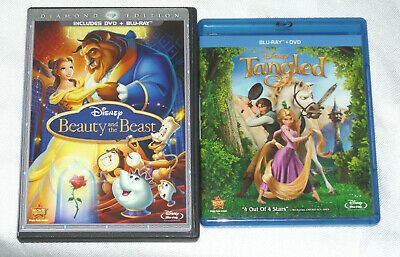 Lot Of Disney Blu-Ray DVD Beauty and the Beast & Tangled Box Set film Collection
