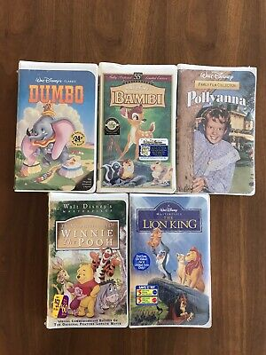 Lot of 5 Disney VHS Tapes : Bambi, Lion King, Pollyanna, Dumbo, Winnie the Pooh