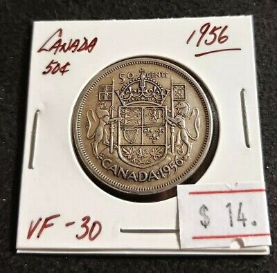 Canada 1956 50 cents QEII Silver Nice High Grade Silver Coin (#M62)
