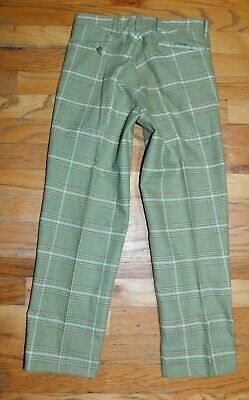 Vintage SEARS Boys Pants GREEN PLAID CHECK 24 X 21.5 ZIP FLY 4 POCKET