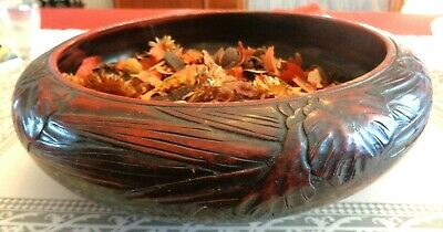 "Antique Hand Carved Wood Oriental Bowl Red Blk Brn 10 1/2""W x 3 1/2""H Lacqured"
