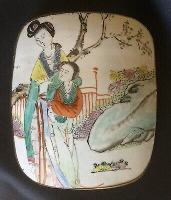 BEAUTIFUL Chinese Famille Rose Porcelain ~ LARGE ANTIQUE Lidded SILVER BOX
