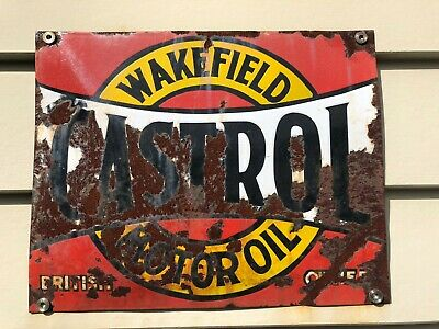 Castrol Wakefield Enamel Old Tin Sign 380 X 300 Man Shed Hot Rod
