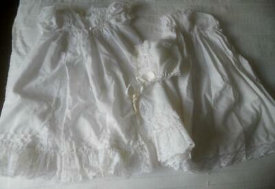 Vintage 60'S Baby Christening Baptism Dress Slip Bonnet Also Suit Lg Doll ?