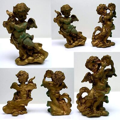 Pair FRENCH Carved WOOD FIGURES ~ MUSICAL PUTTI or CHERUBS with GOLD GILT Finish