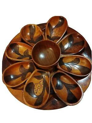 Hand Crafted Round Carved Wood Tray W 6 Mini Bowls + small center Bowl Unique