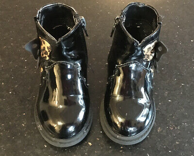 Baby Girls Black Patent Boots Matalan Size 4