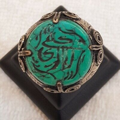 Beautiful Antique Old Soild Silver Ring With Wonderful Green Turquoise Intaglio