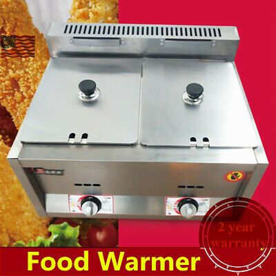 2-Pan Gas Food Warmer Steam Table Steamer 2 Hot Wells Kitchen Equipment, 2*6L