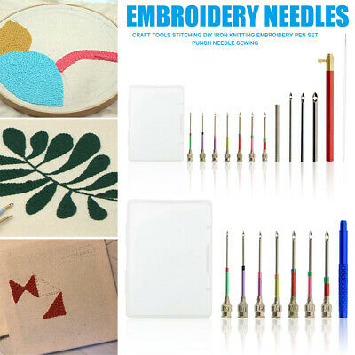 3-10 Size Punch Needle Pin Embroidery Needle Threader for Floss Poking Cross