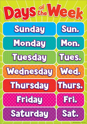 Days of the Week Poster Wall chart Childrens Wall Chart Educational Poster A3