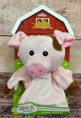 """Spark Create Imagine Pink Pig Plush Puppet Baby Rattle 10.5"""" Tall"""