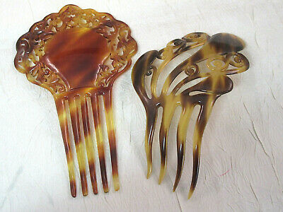 Lot of 2 Elaborate Larger Antique Victorian Hair Combs 1 w Hallmark J9566