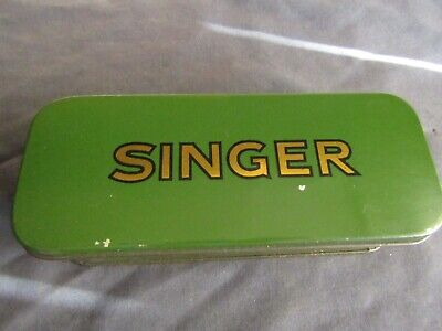 VINTAGE SINGER SEWING-GREEN SINGER ATTACHMENTS TIN(empty)
