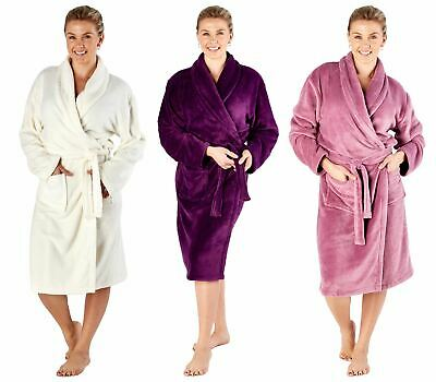 Womens Luxury Soft Warm Coral Fleece Dressing Gown Robe Purple, Cream or Rose
