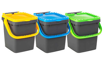 3 for Waste Bin for Collection Waste with Handle 35 L Colours Assorted