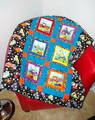 Handmade Monsters as Trucks Baby Patchwork Quilt Cotton Blanket Unique