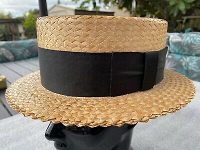 New Vintage 70s Brooks Brothers Boater Panama Straw Hat 7-1/8 Stetson