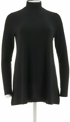 Lisa Rinna Collection Mock Neck Long Sleeve Knit Top-Black-2X A297333