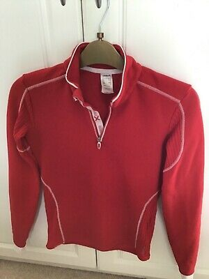 Wedze by Decathlon red quarter zip top/ski baselayer age 12
