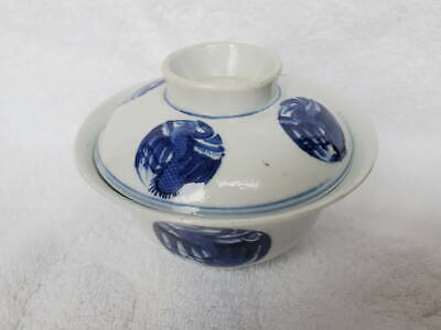 Antique 19th Century Chinese Porcelain Blue and White Covered Rice Bowl