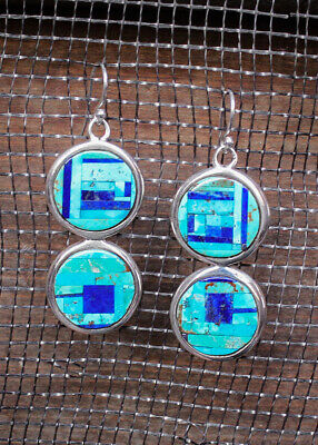 NAVAJO-STERLING, LAPIS & TURQUOISE EARRINGS by LARISSA SHIRLEY - NATIVE AMERICAN