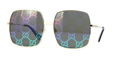 NEW GUCCI GG 0414S 003 Gold Metal & Mirror Gucci Logo Lens Sunglasses