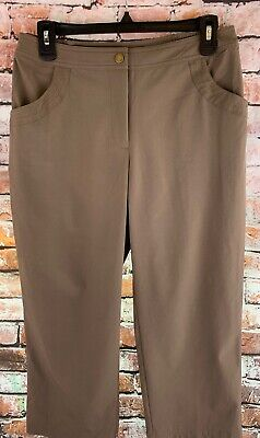 Zenergy Chicos Size 0 SM Crop Capri Golf Pants Brown Light Wght Stretch Pockets