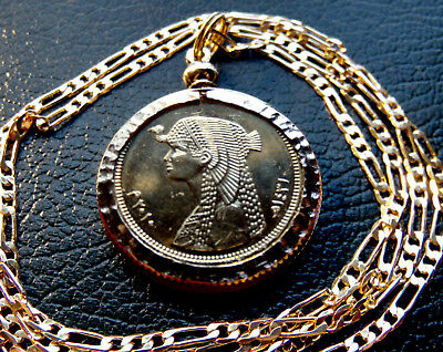 "Gold Plated Nugget Bezeled Cleopatra Pendant on a 18"" Gold Filled Figaro Chain"