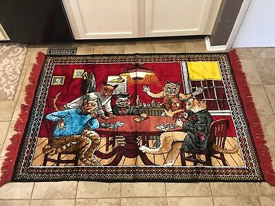 "Vintage Velvet Tapestry Wall Hanging Cats Playing Poker Italy Clean 48"" By 70"""
