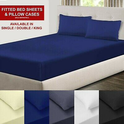 Fitted Bed Sheets Full Sheet Cotton Blend Single Double King SuperKing 30cm Deep