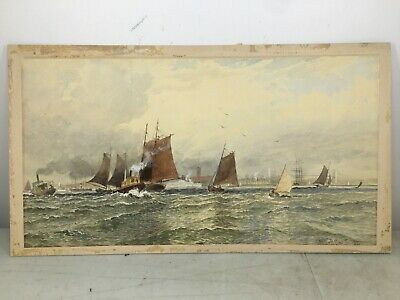 ANTIQUE BOAT WATERCOLOR PAINTING FREDERIC MARLETT BELL-SMITH Haynes art gallery