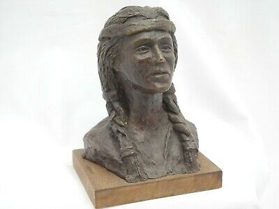 Small Bronze Bust Native American Indian Woman by Bernard Chaet 1972