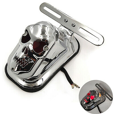 Chrome Metal Motorcycle Skull Turn Signal Brake Rear Tail Light Integrated For H