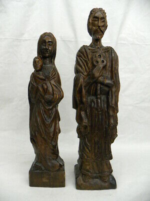 """Vintage Hand Carved Wood Statues Mother with Child & Man Holding Key 21"""" Spain"""