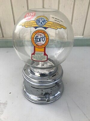 FORD Gumball Chewing Gum Machine  table top Works No Key